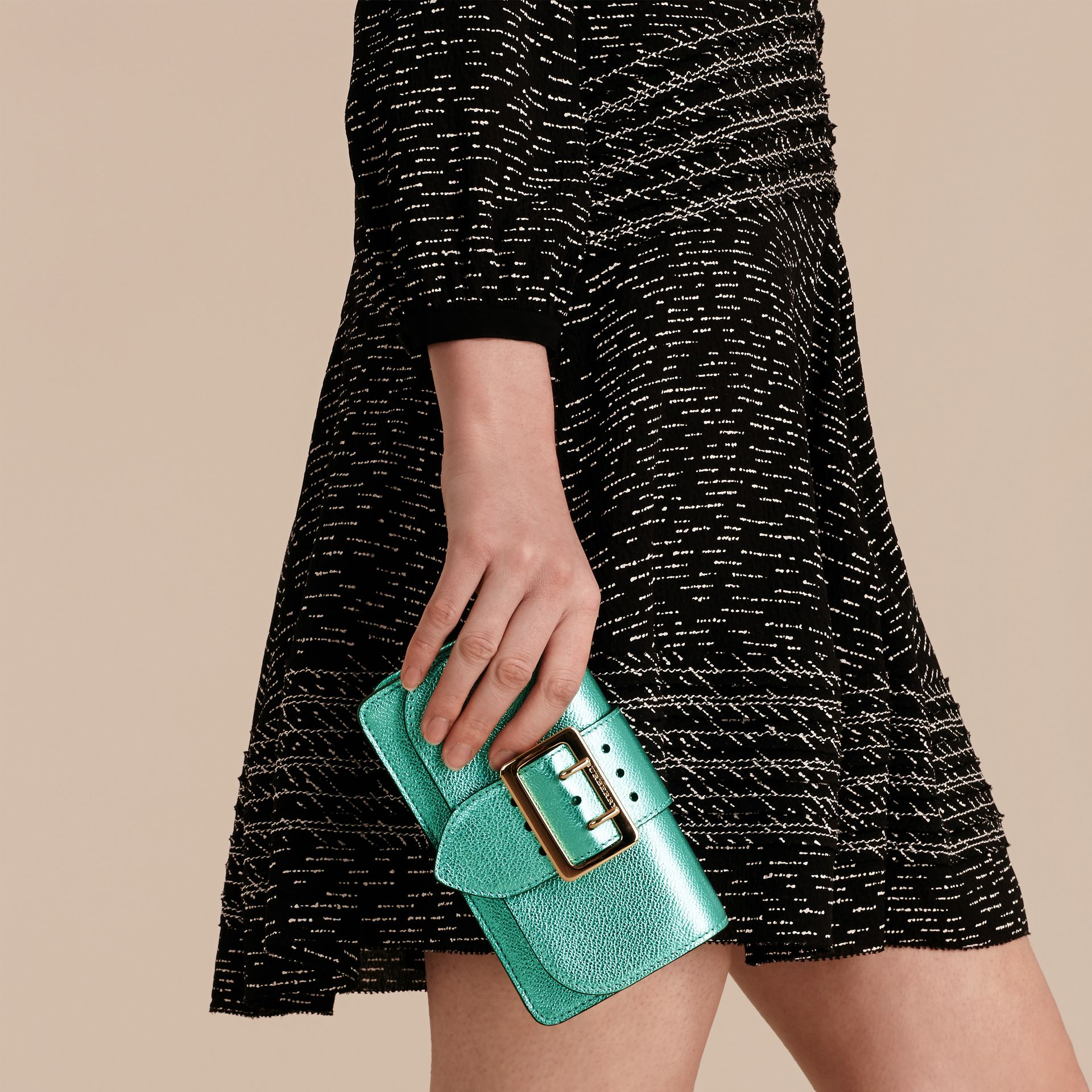 Emerald The Mini Buckle Bag in Metallic Grainy Leather Emerald - gallery image 4