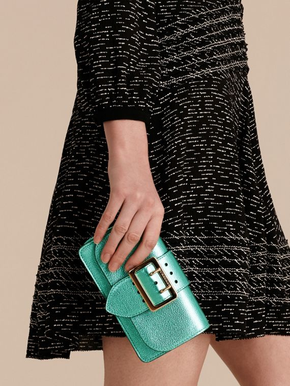 Emerald The Mini Buckle Bag in Metallic Grainy Leather Emerald - cell image 3