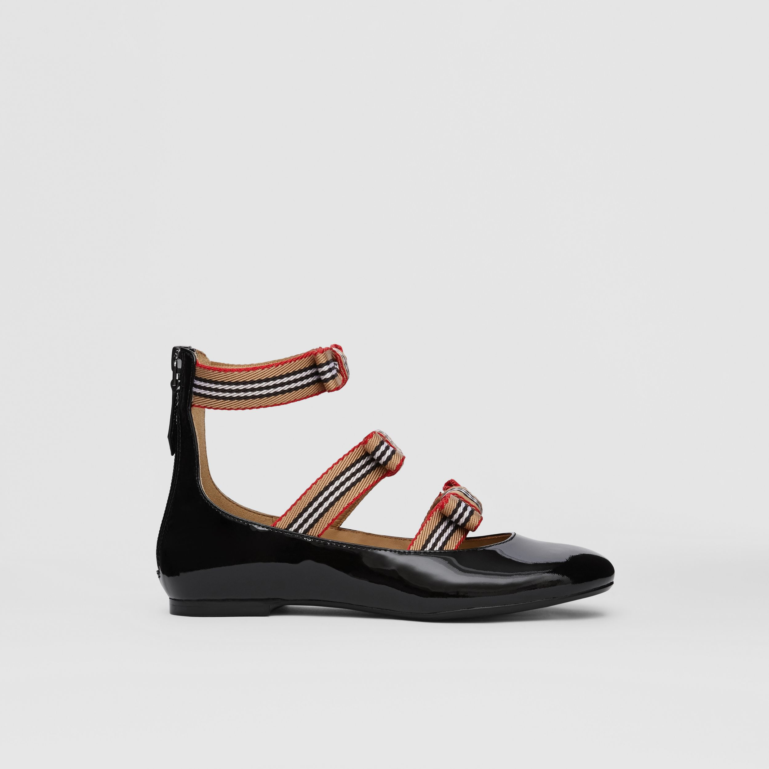Icon Stripe Bow Patent Leather Shoes in Black - Children | Burberry - 4