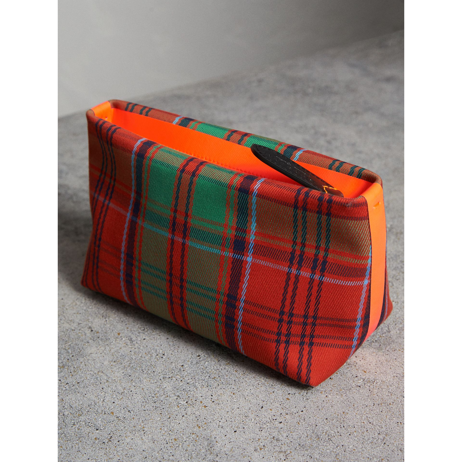 Tartan Cotton Clutch in Orange Red/vibrant Red | Burberry Australia - gallery image 4