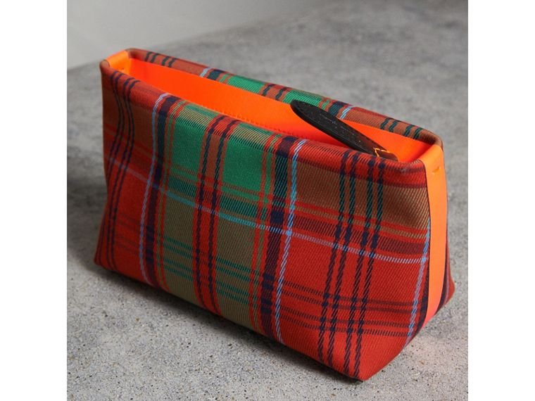 Tartan Cotton Clutch in Orange Red/vibrant Red | Burberry Australia - cell image 4