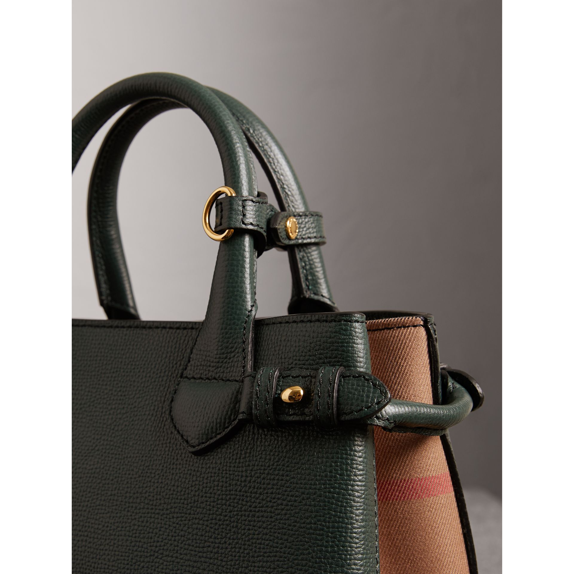 The Small Banner in Leather and House Check in Dark Bottle Green - Women | Burberry Hong Kong - gallery image 1