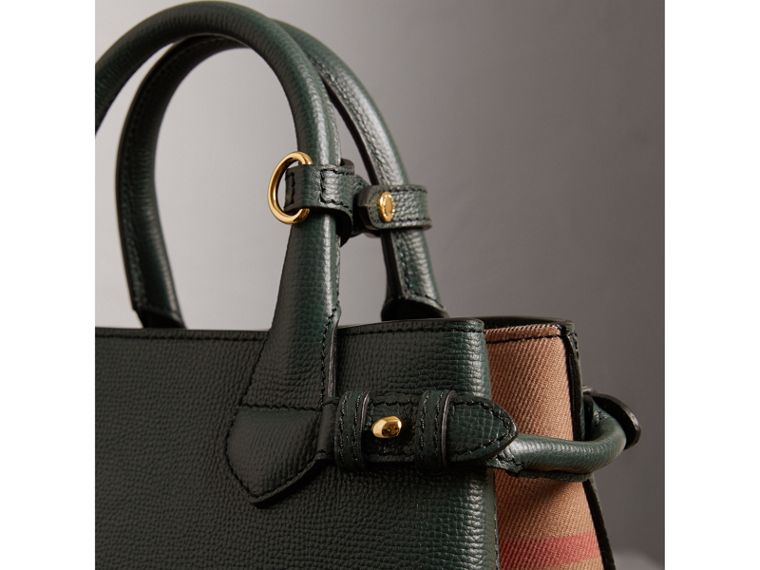 The Small Banner in Leather and House Check in Dark Bottle Green - Women | Burberry Hong Kong - cell image 1