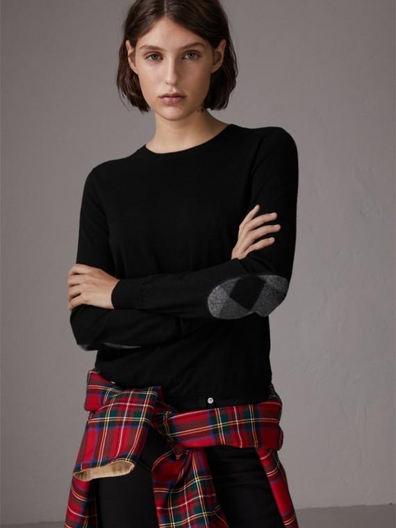 格紋細節設計美麗諾羊毛套頭衫 (黑色)