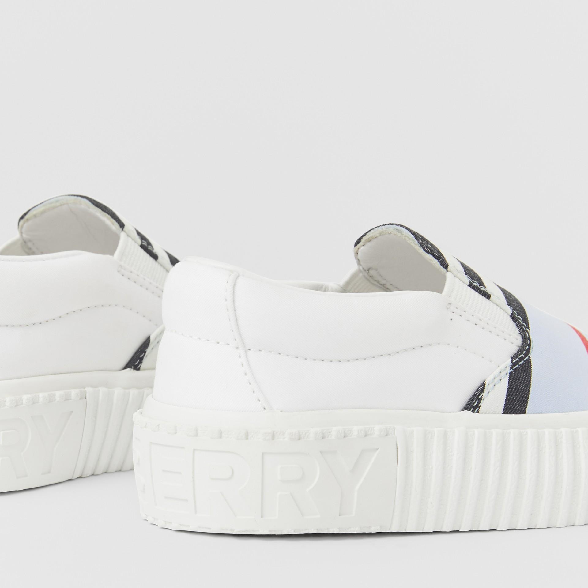 Icon Stripe Cotton Slip-on Sneakers in Pale Blue - Children | Burberry Australia - gallery image 1