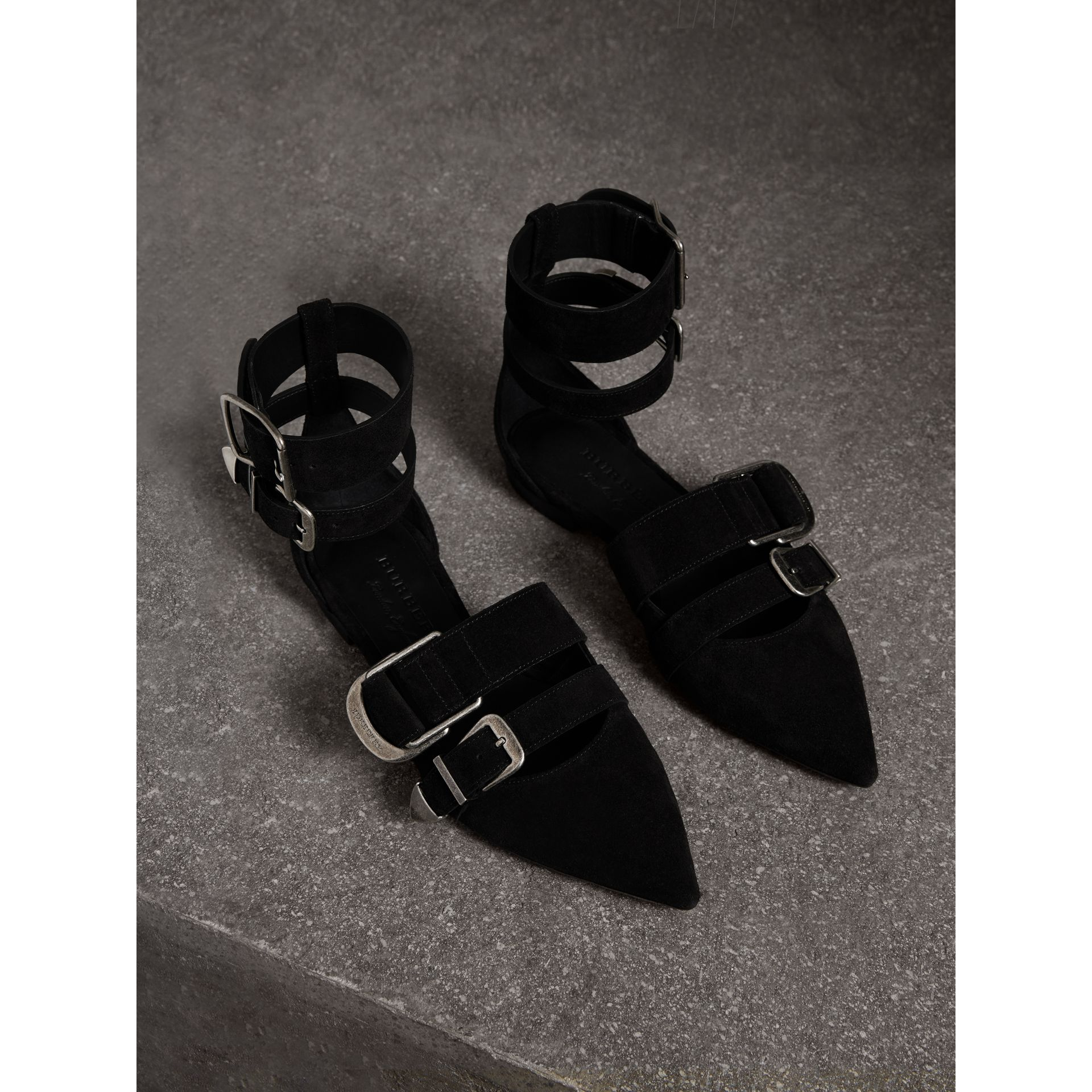 Buckle Detail Suede Point-toe Flats in Black - Women | Burberry - gallery image 0