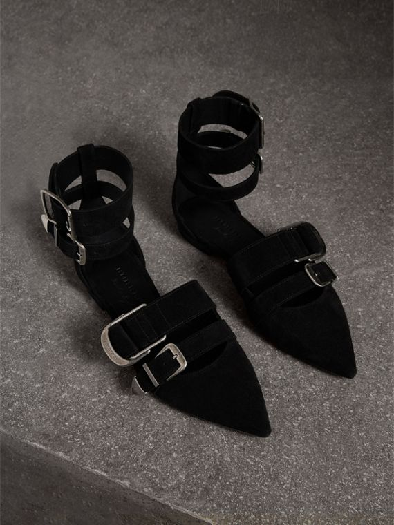 Buckle Detail Suede Point-toe Flats in Black