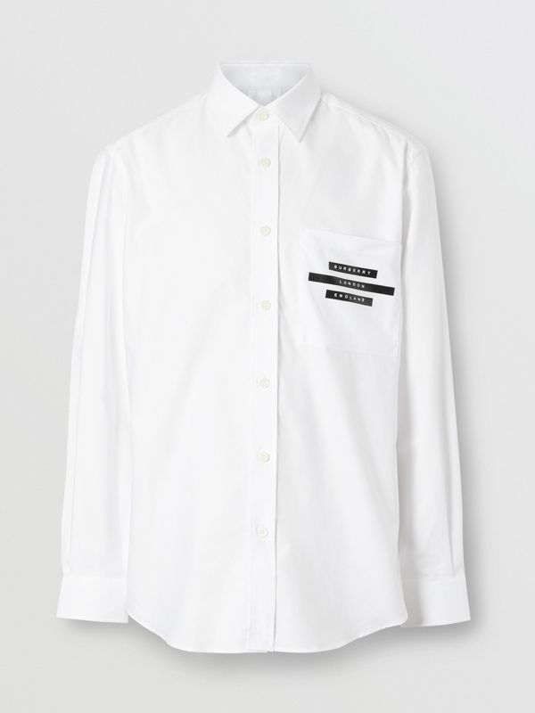 Classic Fit Tape Print Cotton Oxford Shirt in White - Men | Burberry United Kingdom - cell image 3