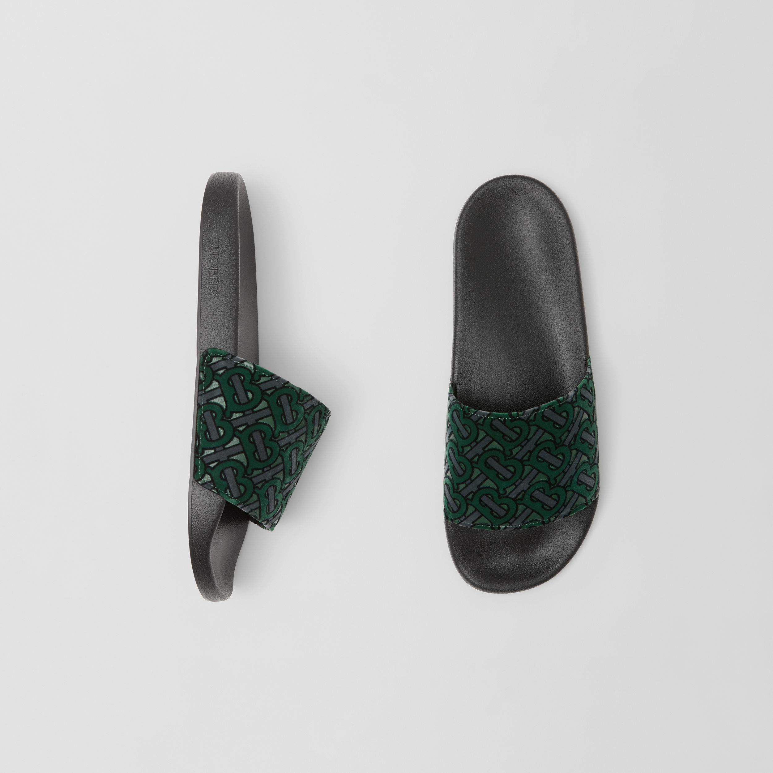 Monogram Flocked Leather Slides in Dark Forest Green - Men | Burberry - 1