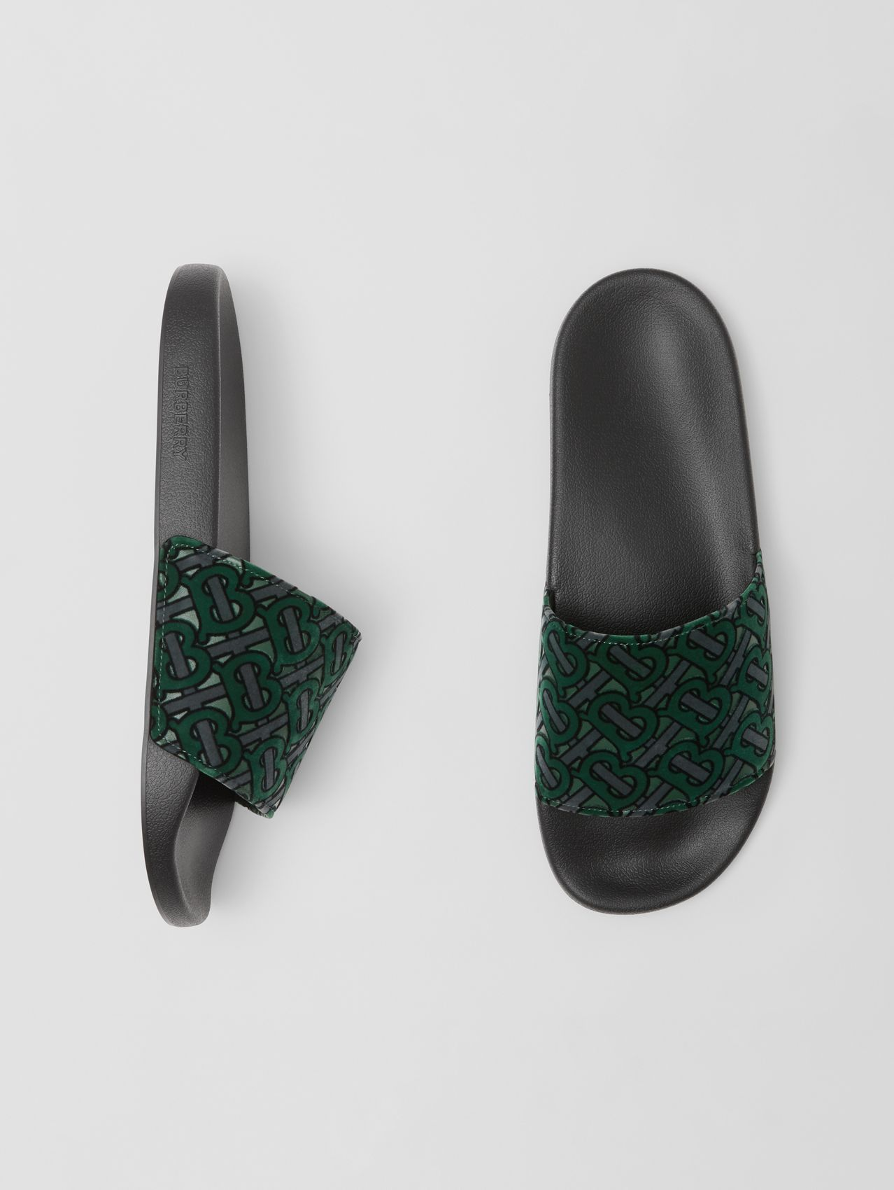 Monogram Flocked Leather Slides in Dark Forest Green
