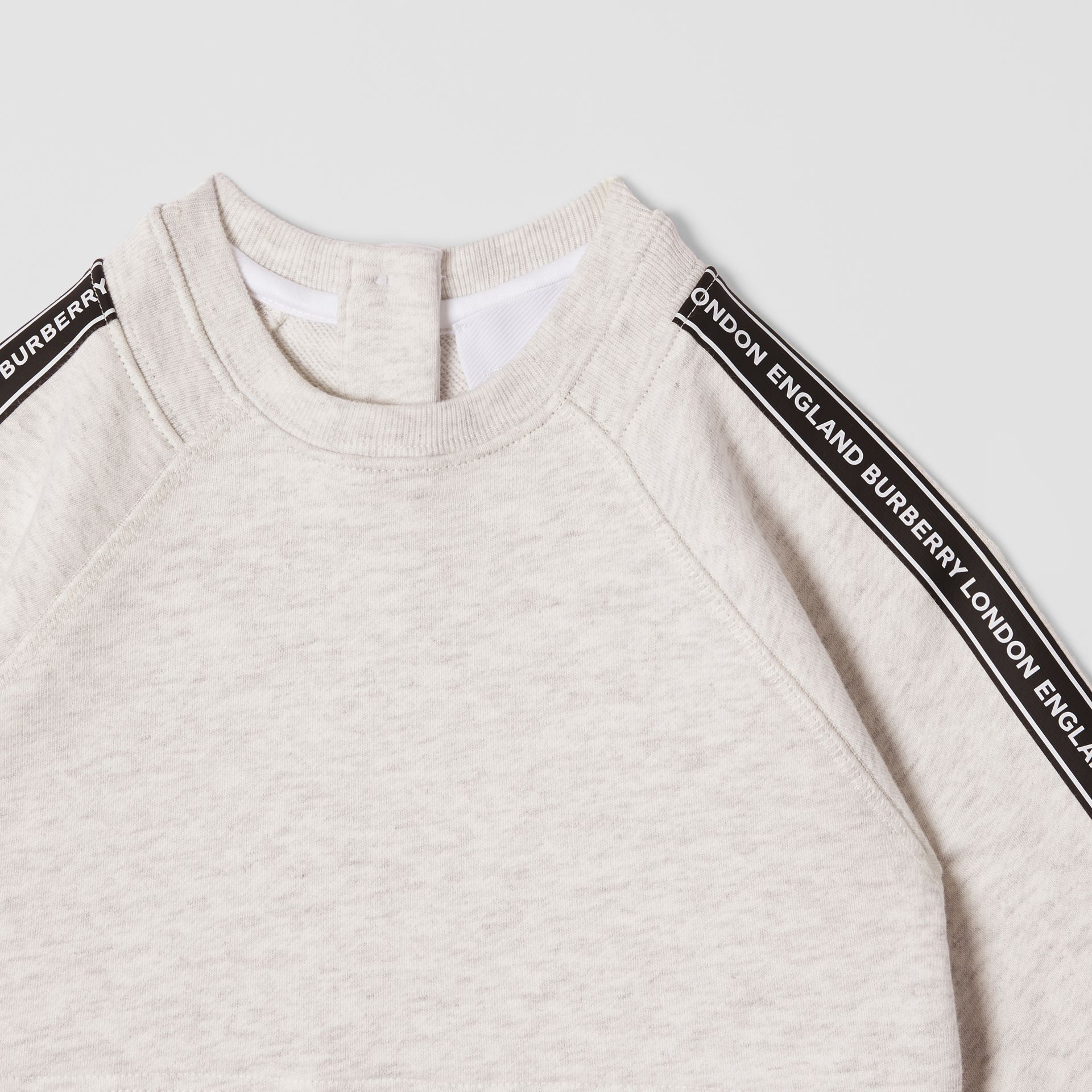 Logo Tape Cotton Sweater Dress in White Melange - Children | Burberry United Kingdom - gallery image 4