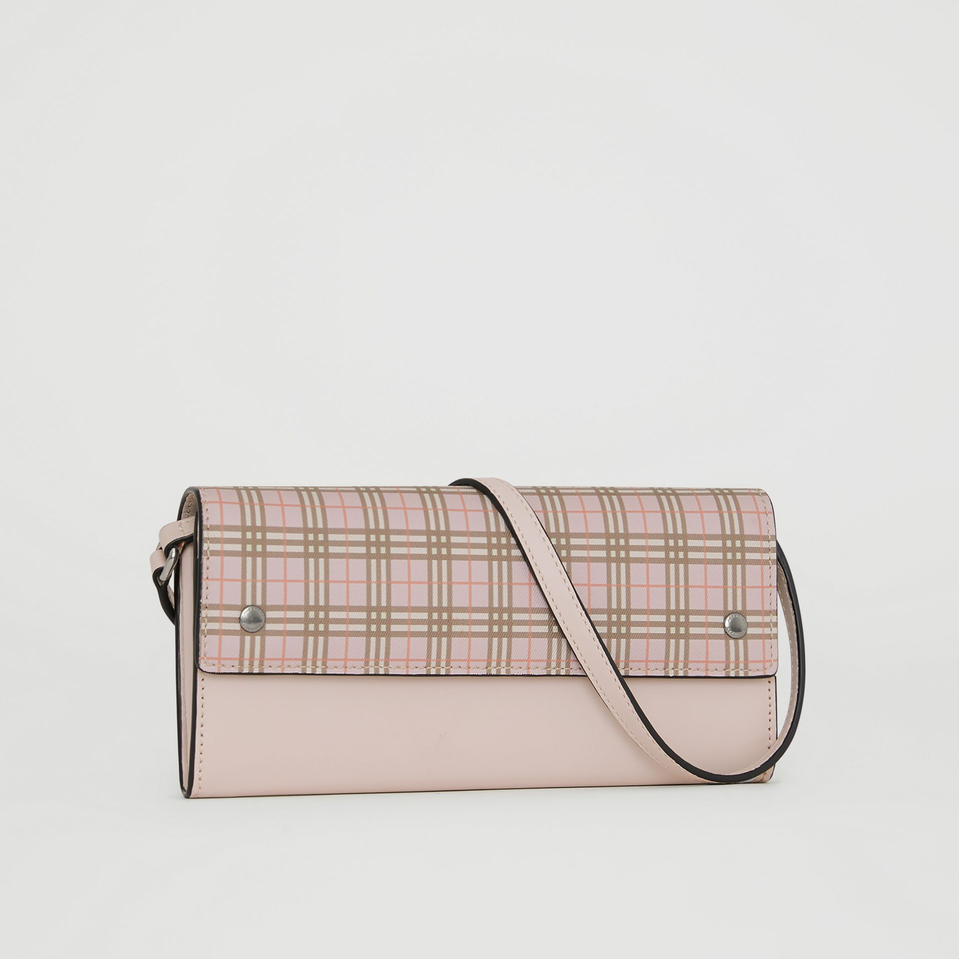 Small Scale Check Wallet with Detachable Strap in Ice Pink - Women | Burberry United States - gallery image 4