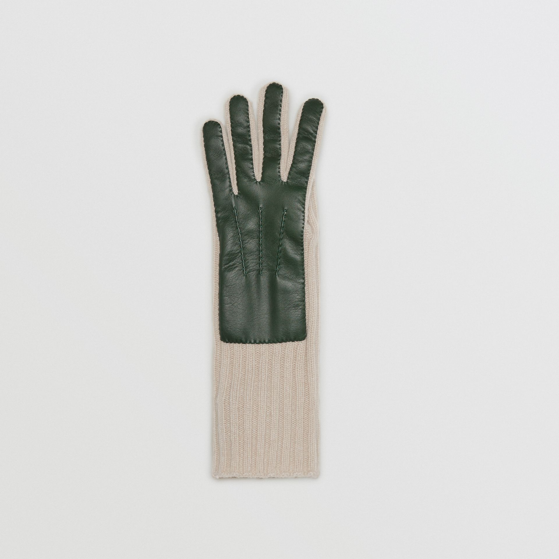 Cashmere and Lambskin Gloves in Dark Forest Green/ White - Women | Burberry - gallery image 2