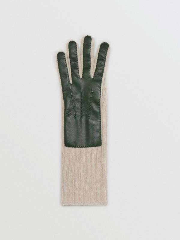 Cashmere and Lambskin Gloves in Dark Forest Green/ White - Women | Burberry - cell image 2