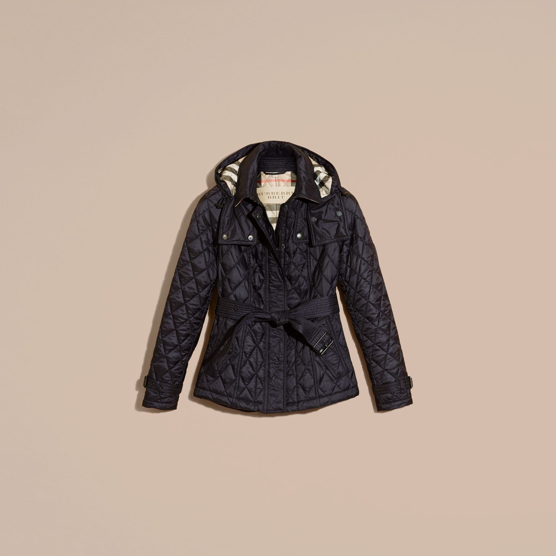 Quilted Trench Jacket with Detachable Hood in Ink - gallery image 4