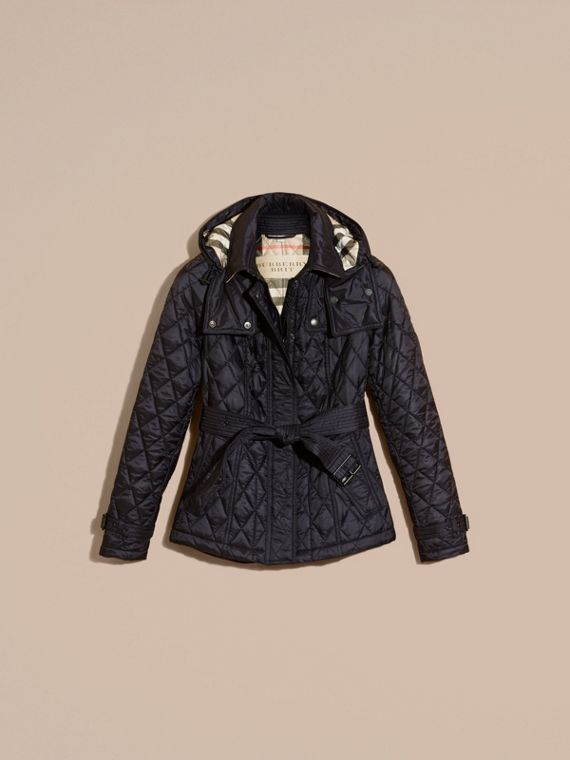 Quilted Trench Jacket with Detachable Hood in Ink - cell image 3