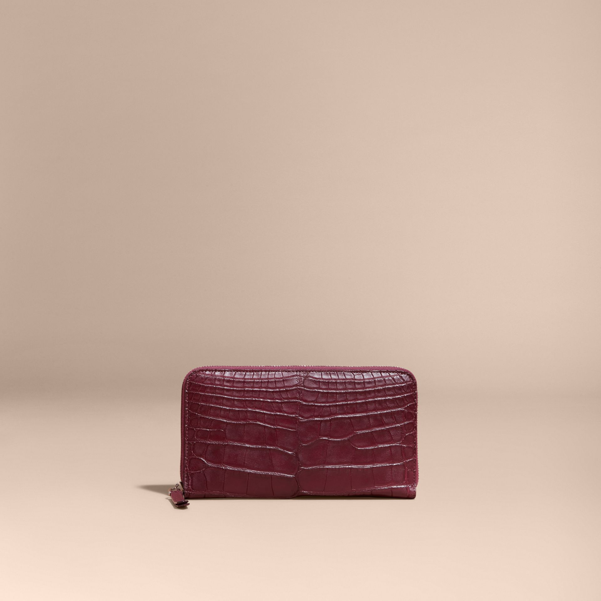 Deep claret Alligator and Leather Ziparound Wallet - gallery image 6