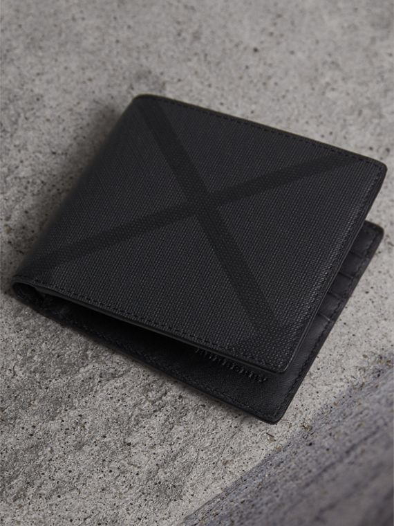 London Check Folding Wallet in Charcoal/black - Men | Burberry Australia - cell image 2