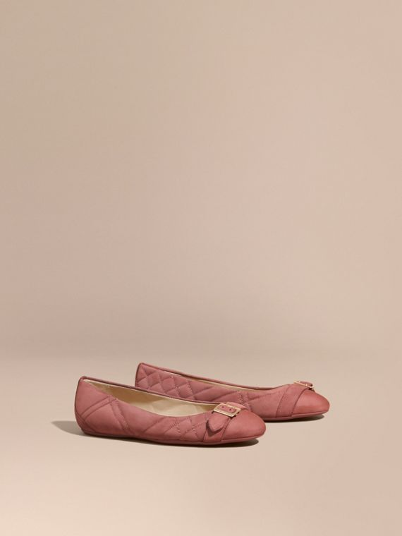 Buckle Detail Quilted Suede Ballerinas in Antique Pink