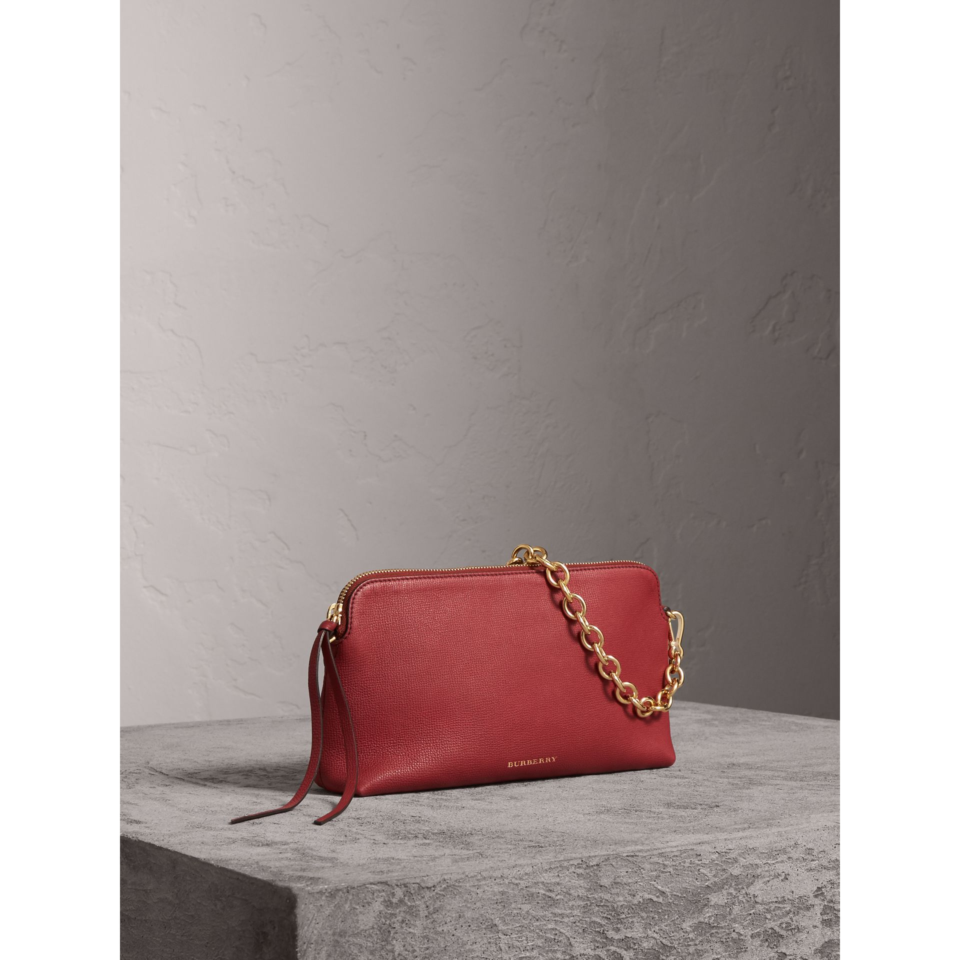 Grainy Leather Clutch Bag in Russet Red - Women | Burberry - gallery image 8
