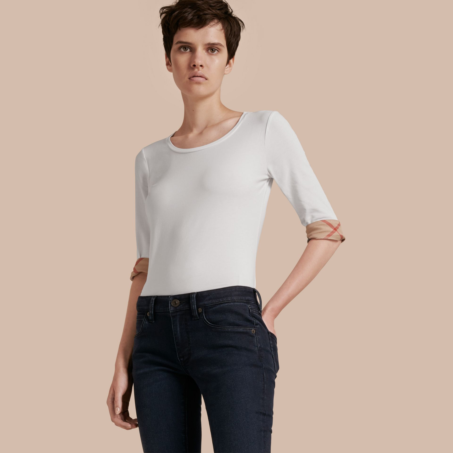 Check Cuff Stretch-Cotton Top in White - gallery image 1