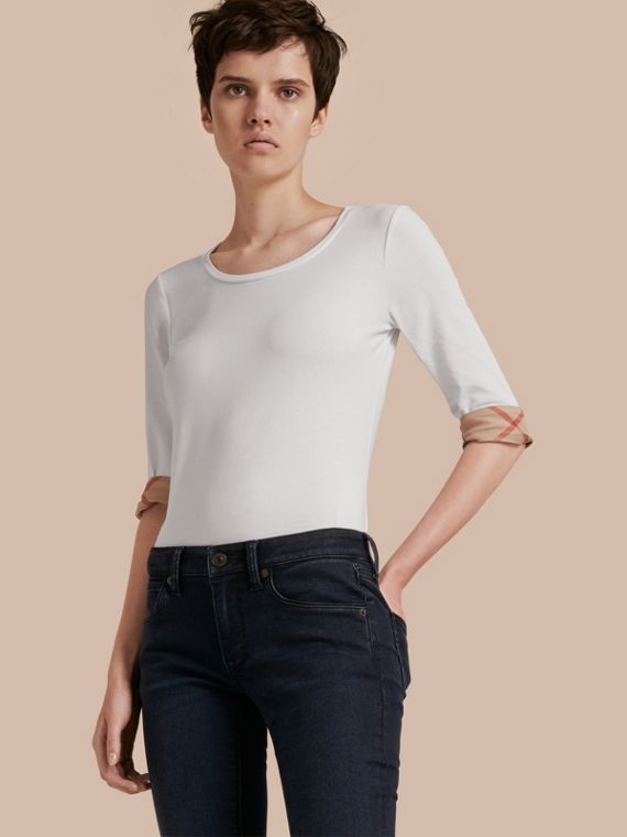 Check Cuff Stretch-Cotton Top in White - Women | Burberry Hong Kong