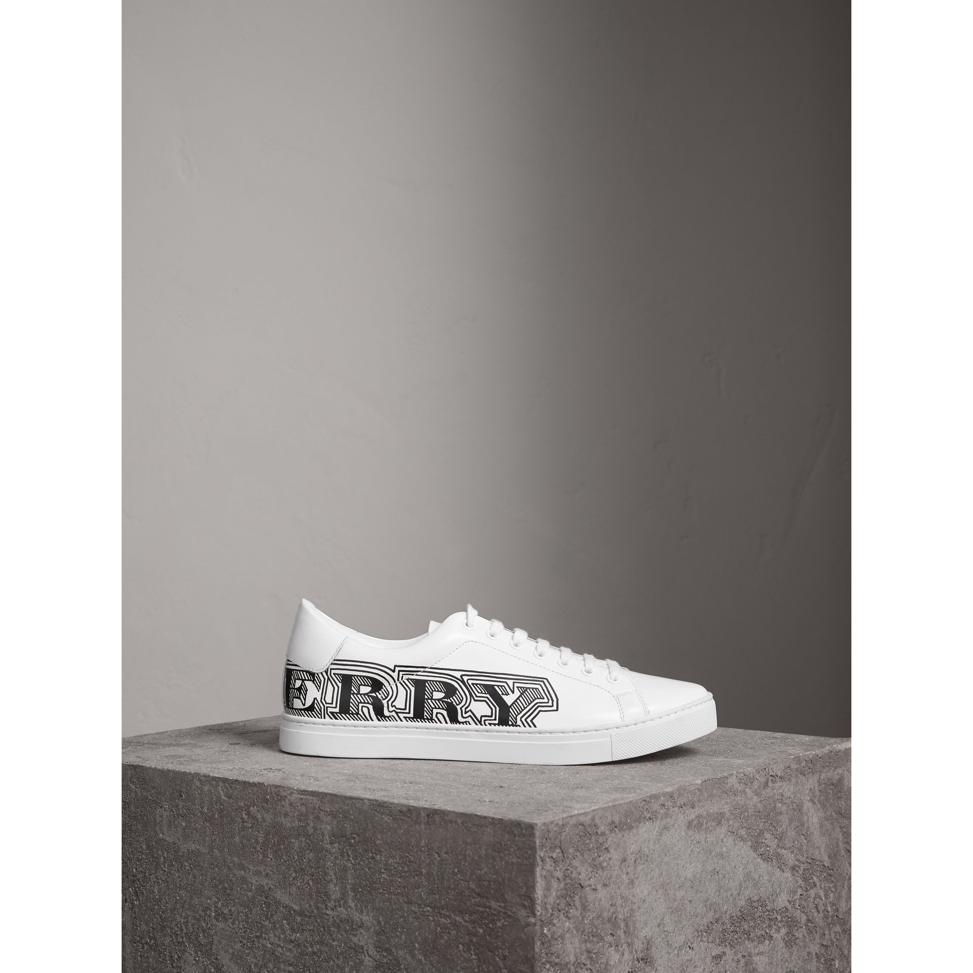 Doodle Print Leather Trainers in Optic White - Men | Burberry - gallery image 5