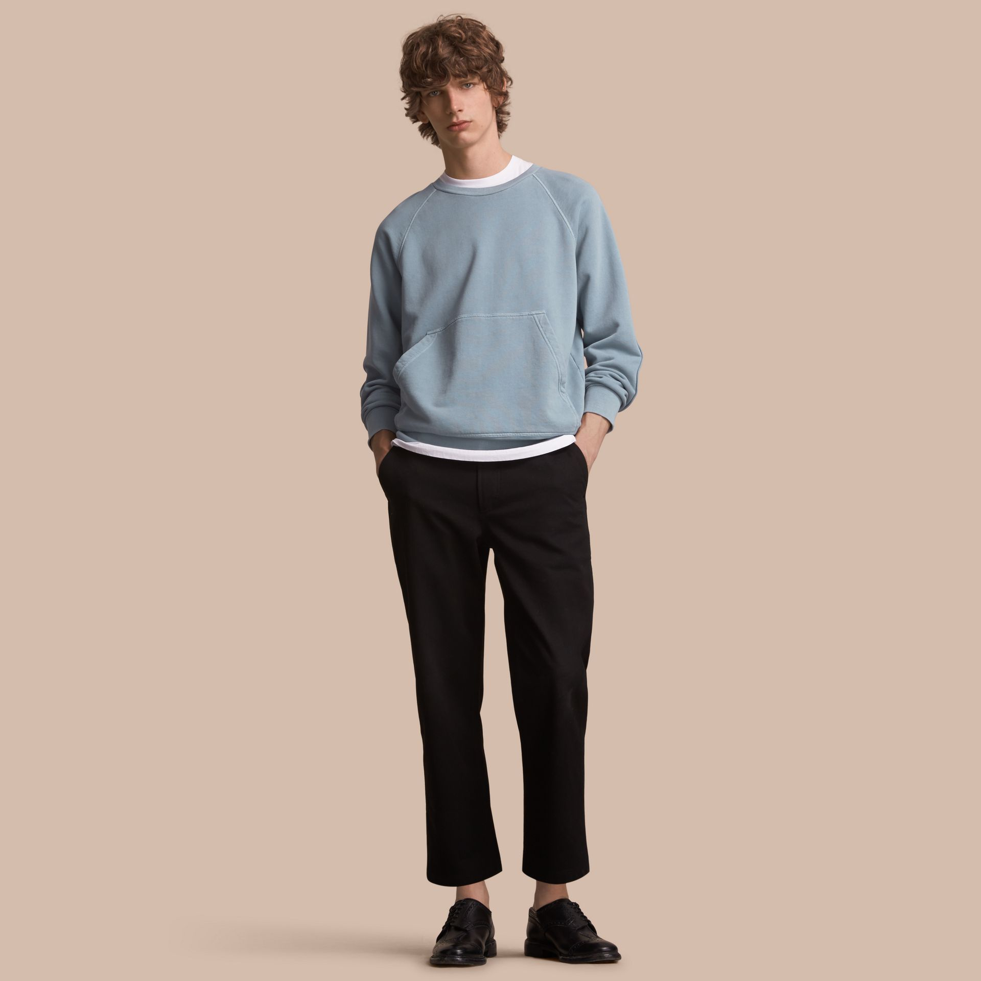 Unisex Pigment-dyed Cotton Oversize Sweatshirt in Dusty Blue - Men | Burberry - gallery image 1