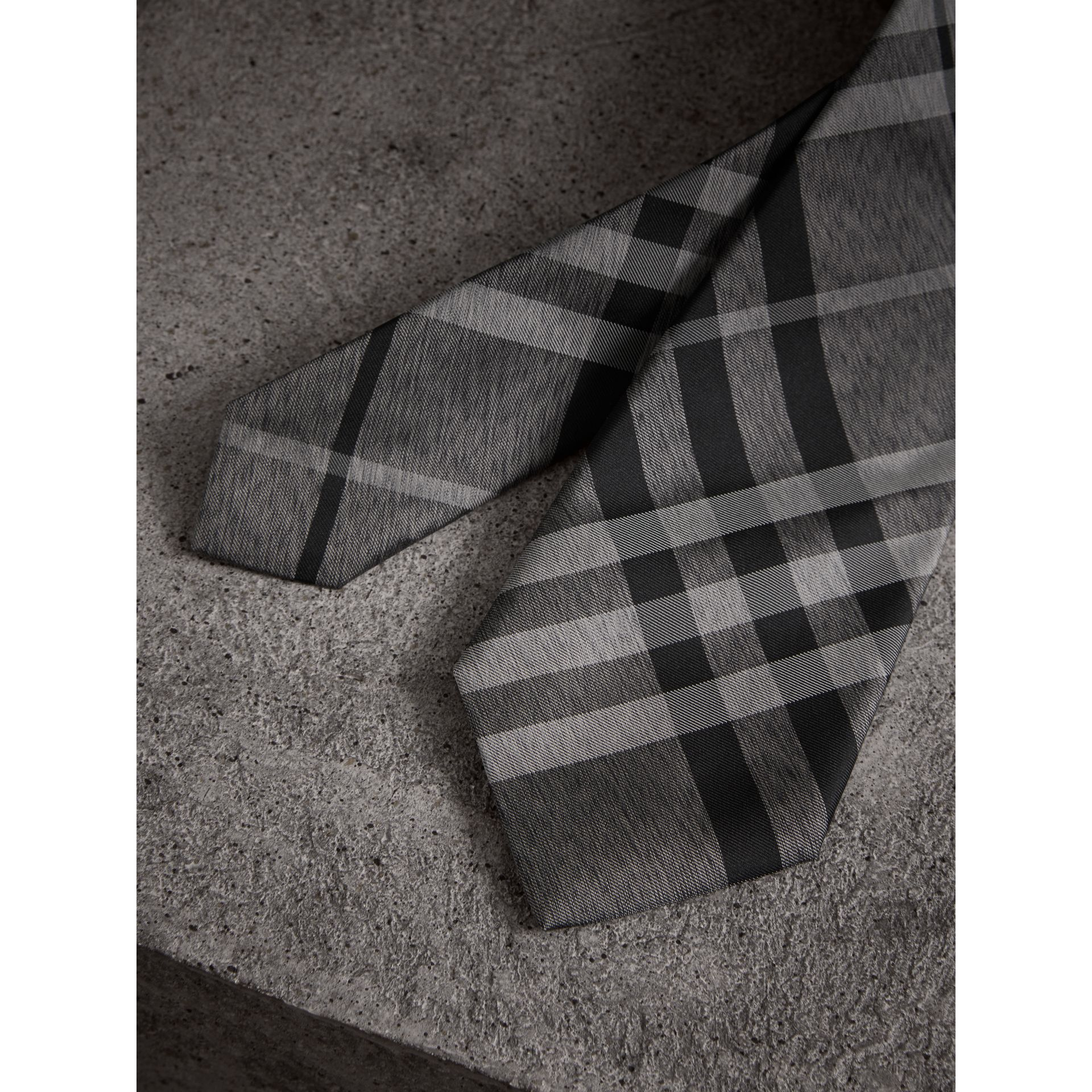 Modern Cut Check Silk Tie in Mineral Grey - Men | Burberry - gallery image 2