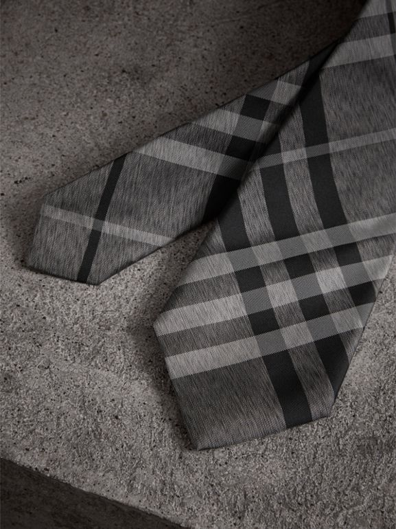 Modern Cut Check Silk Tie in Mineral Grey - Men | Burberry - cell image 1