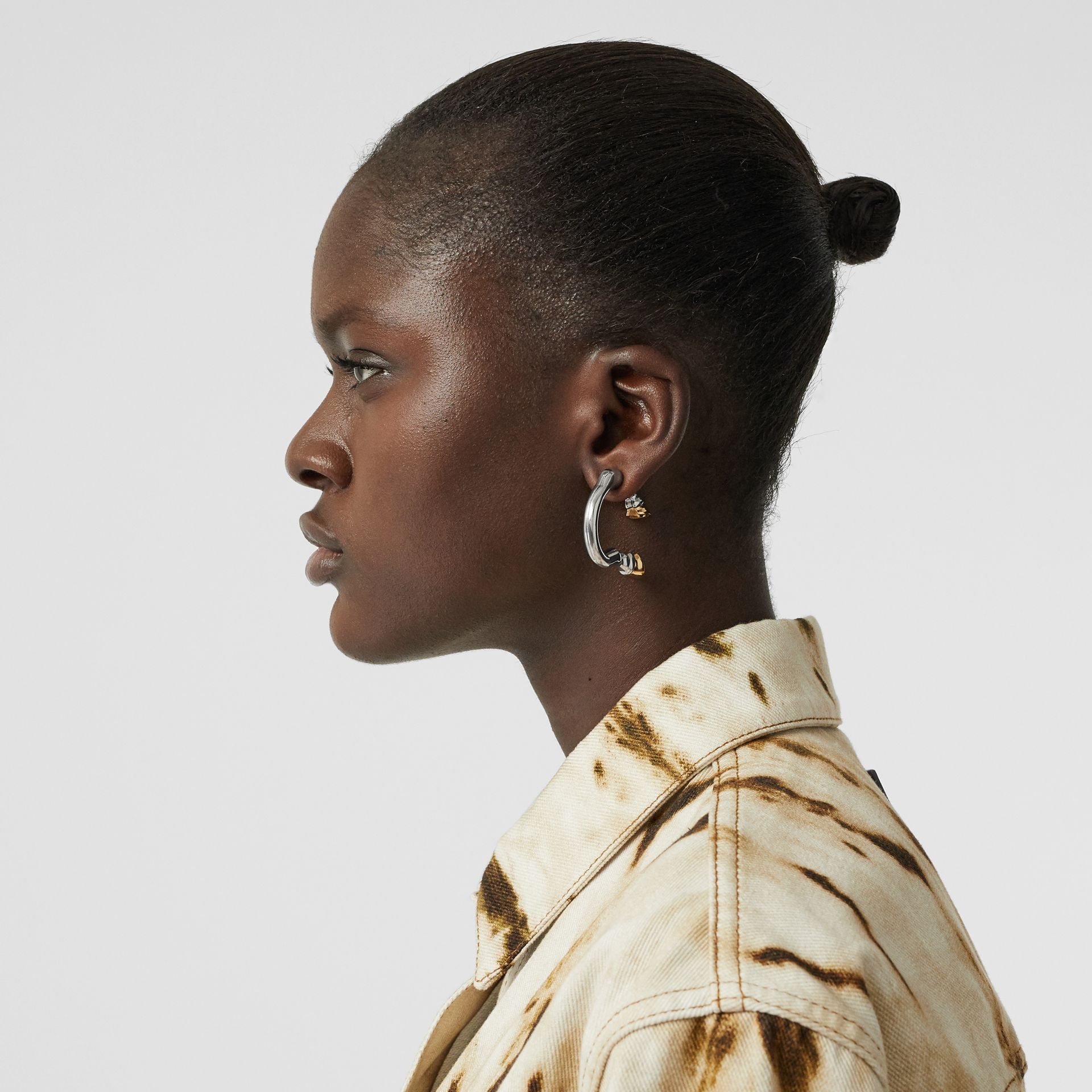 Palladium and Gold-plated Hoof Open-hoop Earrings in Palladio/gold - Women | Burberry - gallery image 2
