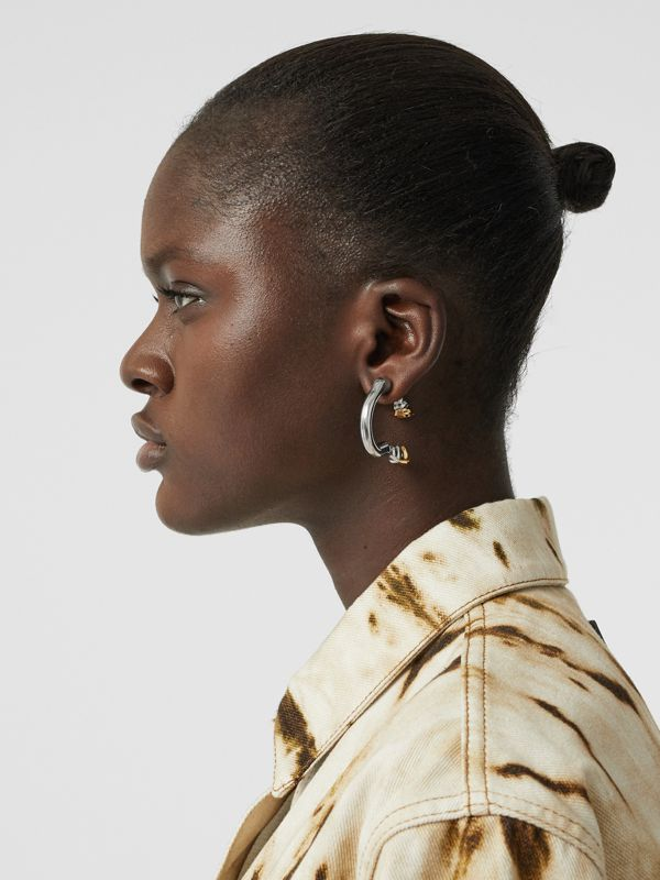 Palladium and Gold-plated Hoof Open-hoop Earrings in Palladio/gold - Women | Burberry - cell image 2