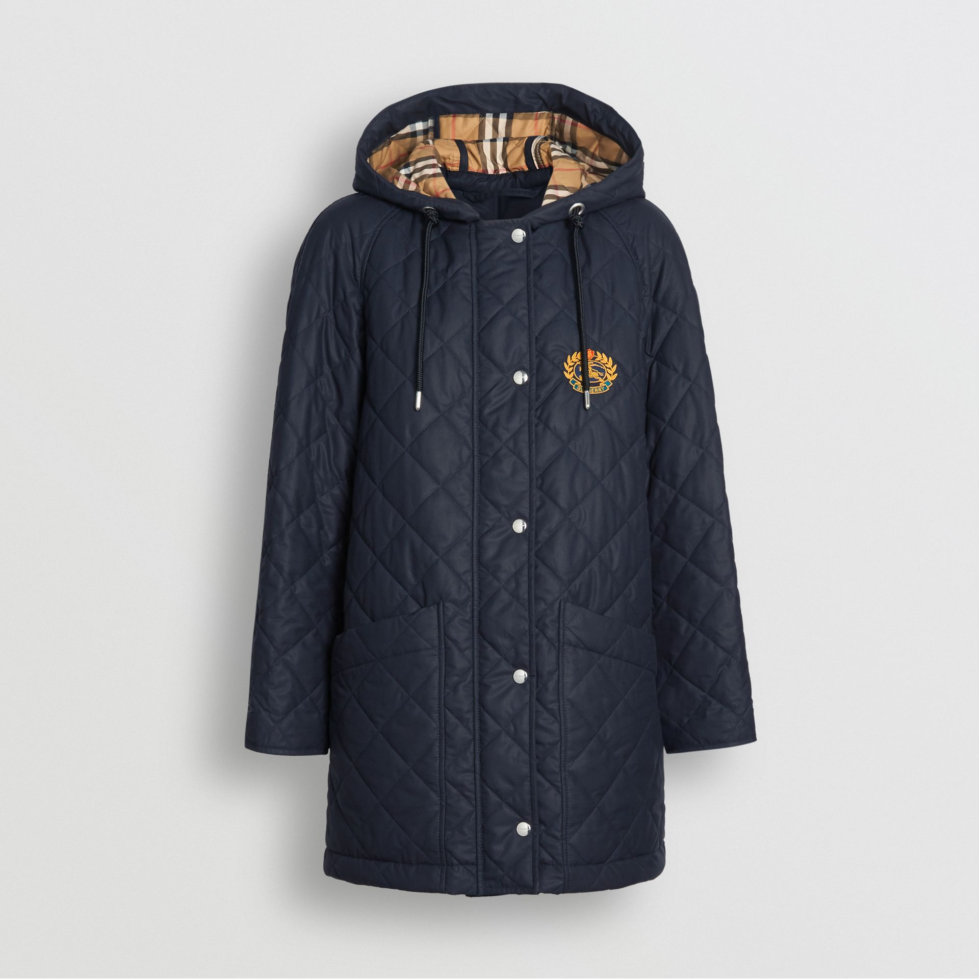 Diamond Quilted Oversized Hooded Parka in Navy - Women | Burberry Australia - gallery image 3