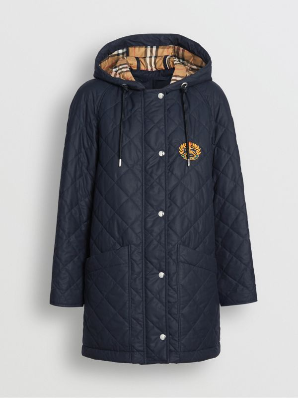Diamond Quilted Oversized Hooded Parka in Navy - Women | Burberry - cell image 3