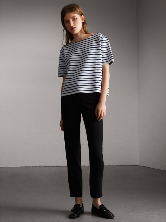Check and Stripe Knitted Wool Blend T-shirt - Women | Burberry