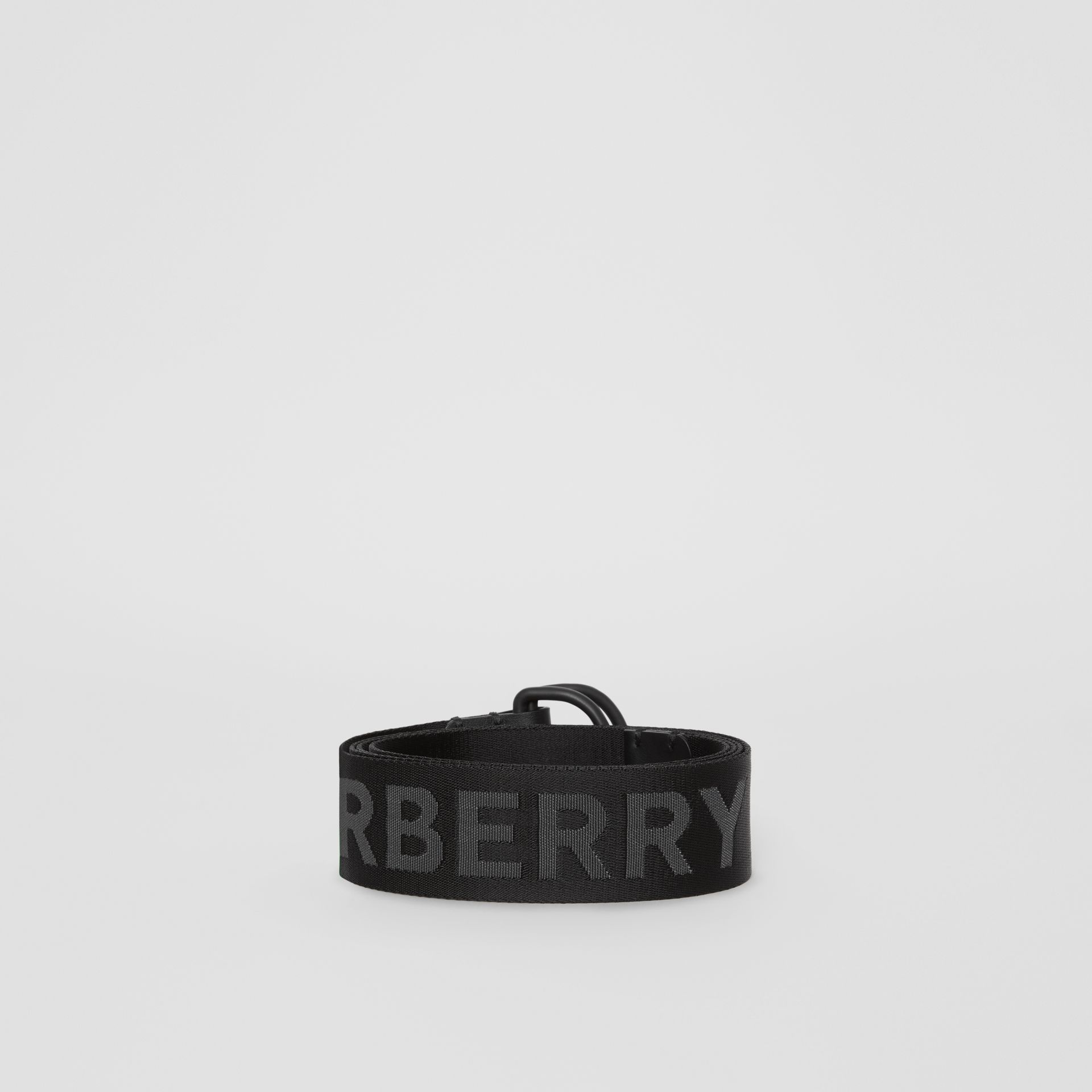 Logo Detail Double D-ring Belt in Black - Men | Burberry - gallery image 3