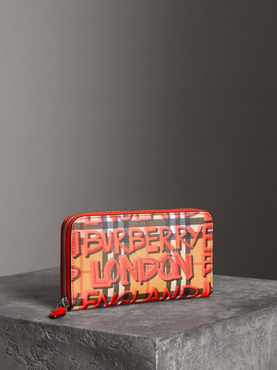 Graffiti Print Vintage Check Leather Ziparound Wallet in Red