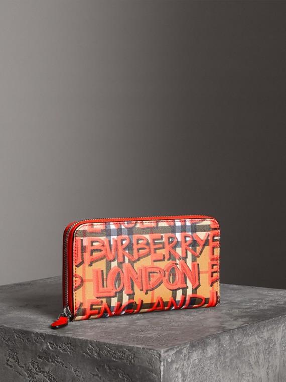 塗鴉印花 Vintage 格紋皮革環繞式拉鍊皮夾 (紅色)