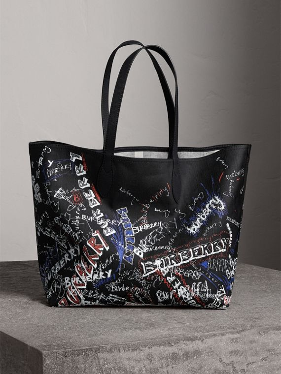 The Large Reversible Doodle Tote in Black