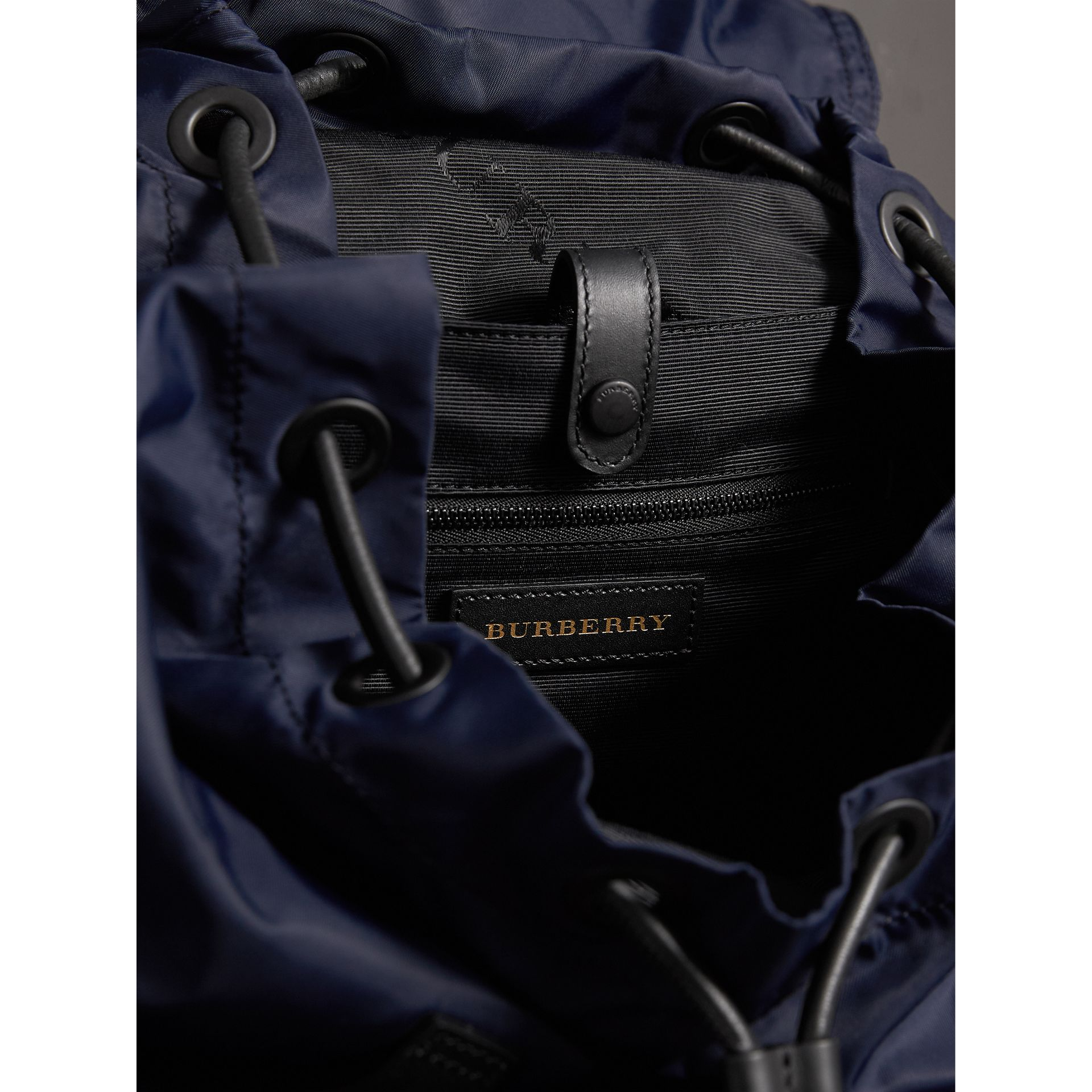 The Extra Large Rucksack in Technical Nylon and Leather in Ink Blue - Men | Burberry - gallery image 6