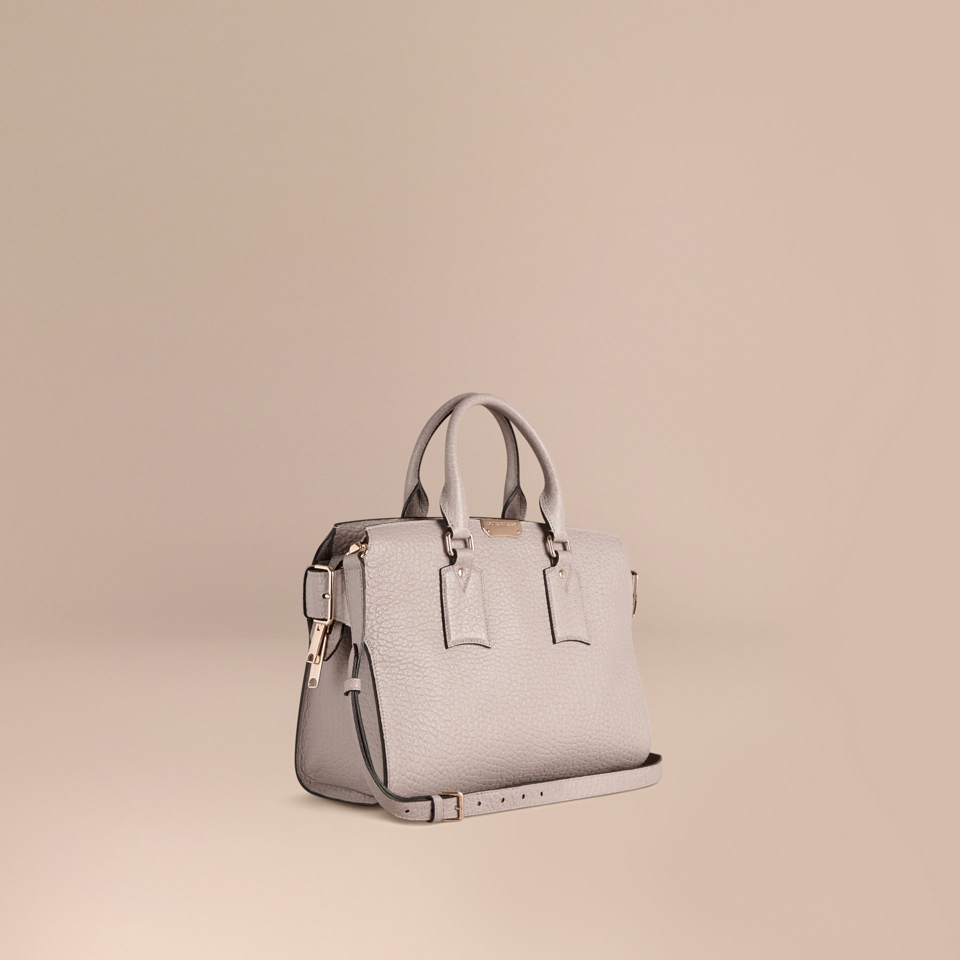 Pale grey The Medium Clifton in Signature Grain Leather Pale Grey - gallery image 1
