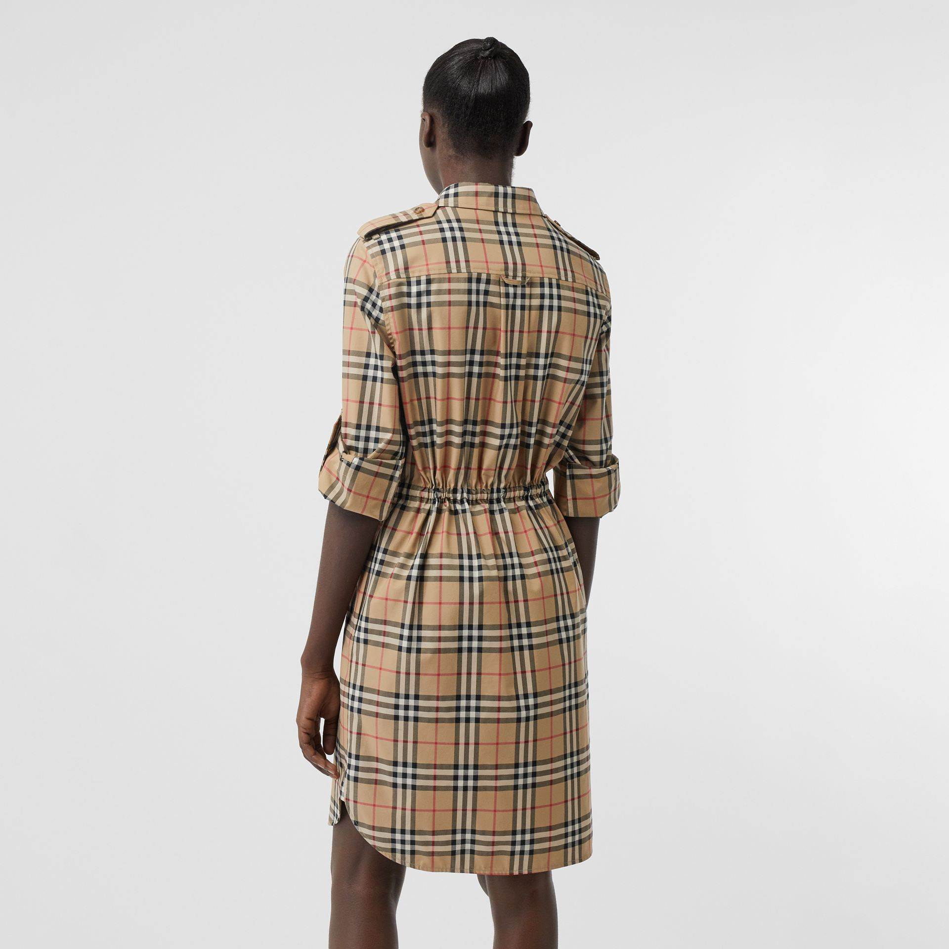 Vintage Check Stretch Cotton Drawcord Shirt Dress in Archive Beige - Women | Burberry - gallery image 2