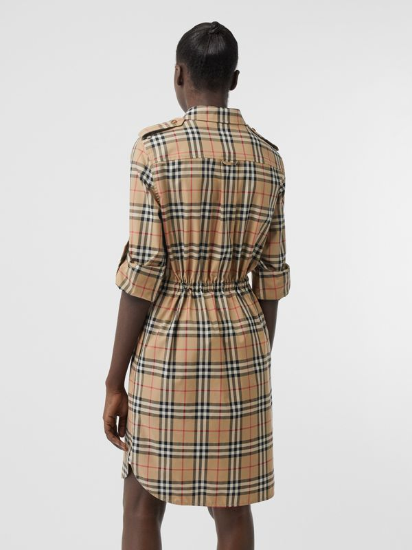 Vintage Check Stretch Cotton Drawcord Shirt Dress in Archive Beige - Women | Burberry - cell image 2