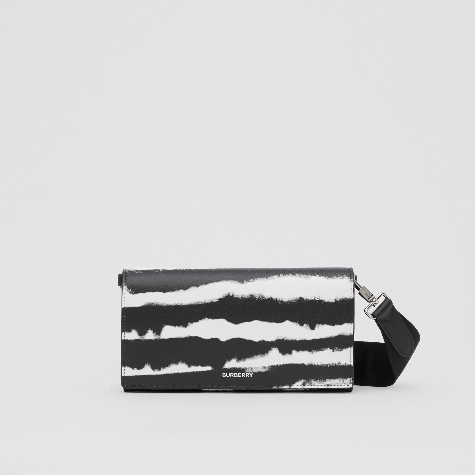 Watercolour Print Leather Wallet with Detachable Strap in Black/white | Burberry - gallery image 0
