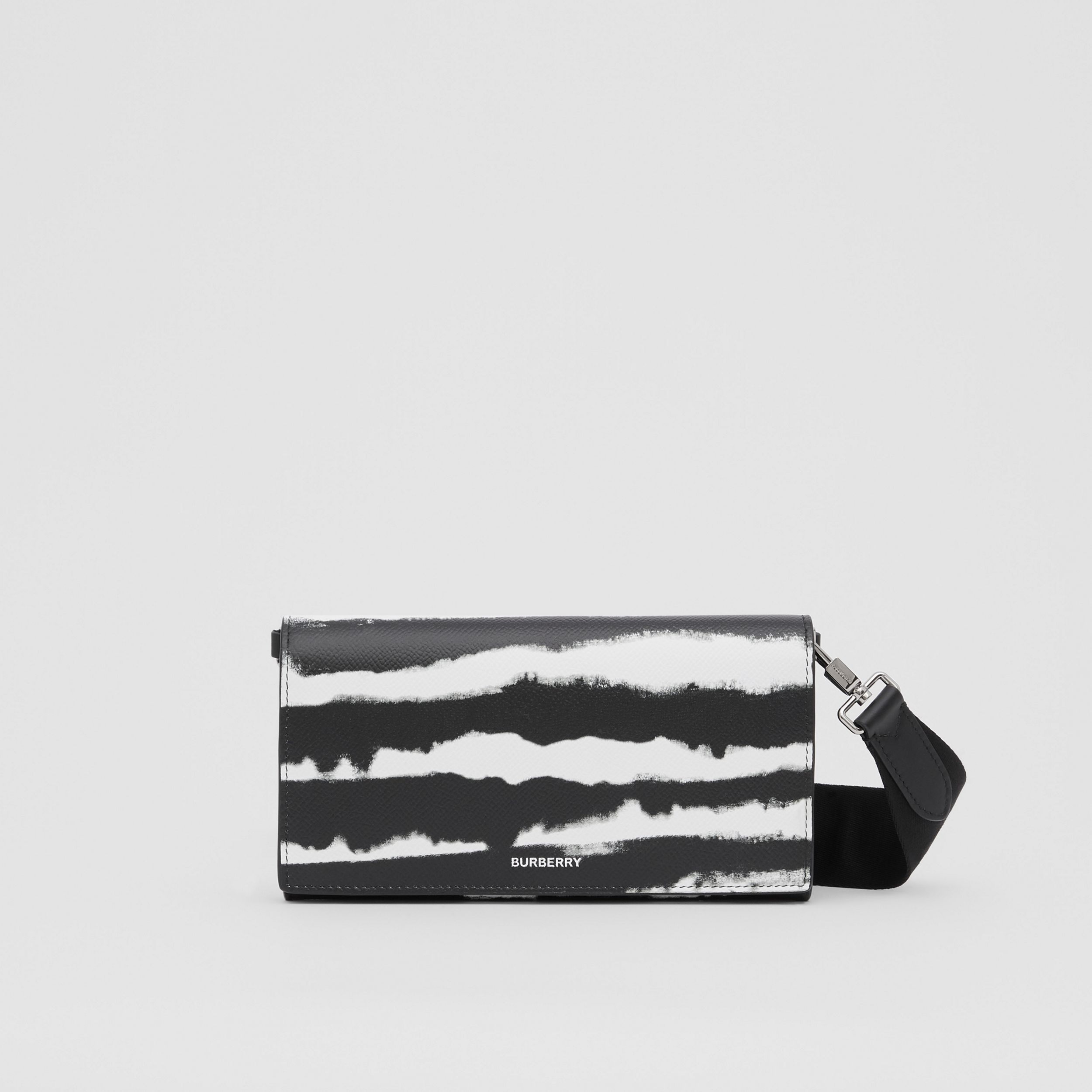 Watercolour Print Leather Wallet with Detachable Strap in Black/white | Burberry - 1