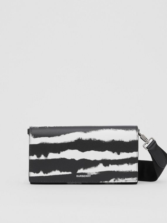 Watercolour Print Leather Wallet with Detachable Strap in Black/white