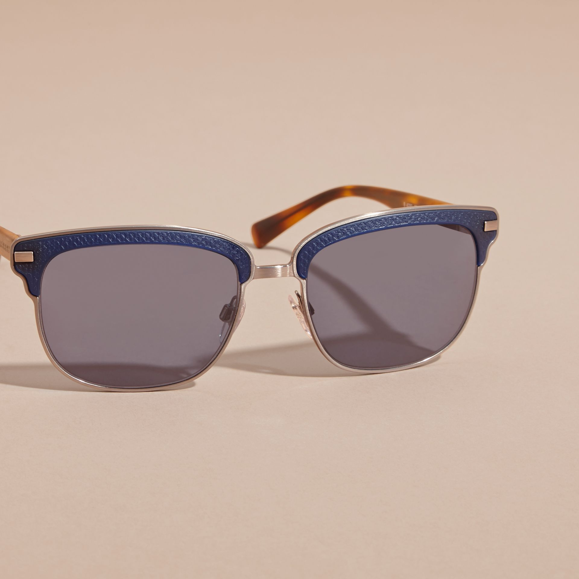 Textured Front Square Frame Sunglasses in Dark Navy - Men | Burberry Singapore - gallery image 2