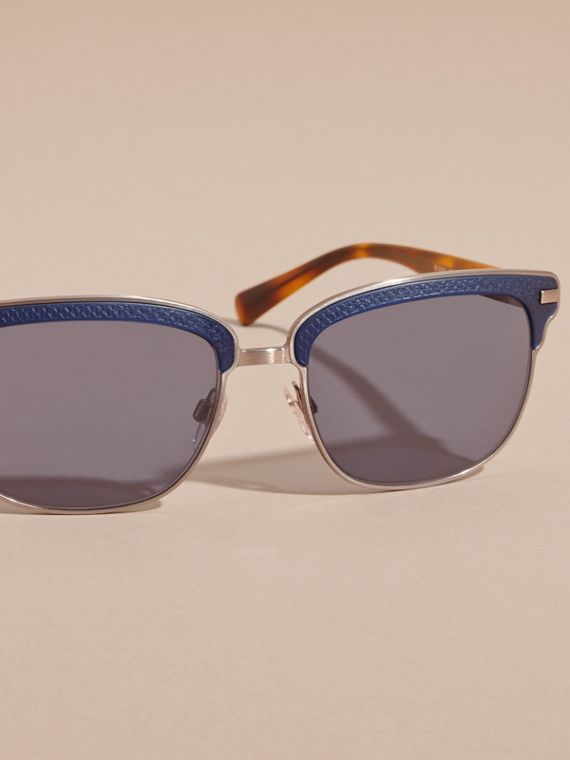 Textured Front Square Frame Sunglasses in Dark Navy - Men | Burberry Singapore - cell image 2