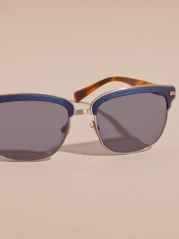 Textured Front Square Frame Sunglasses in Dark Navy - Men | Burberry - cell image 2