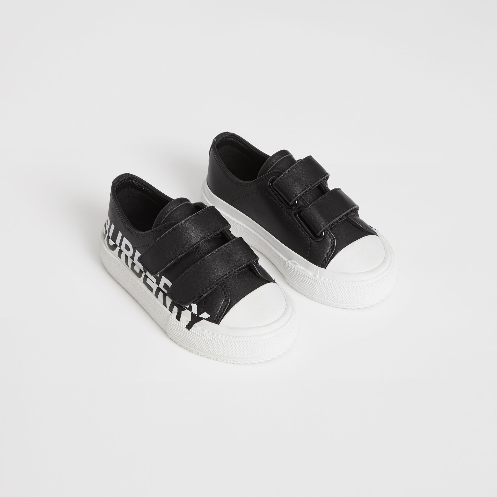 Logo Print Two-tone Leather Sneakers in Black/white - Children | Burberry Canada - gallery image 0